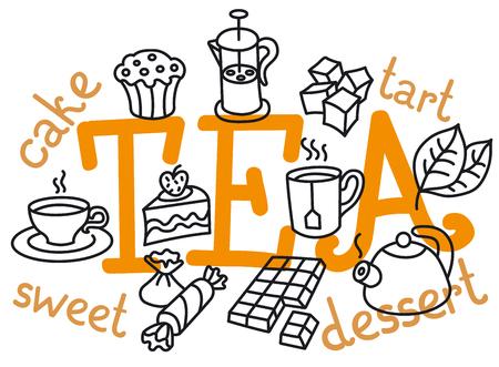 concept illustration of dessert and tea icon