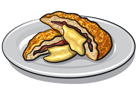 illustration of escalope with melted cheese on a plate