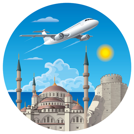 concept illustration of flight and travel to turkey