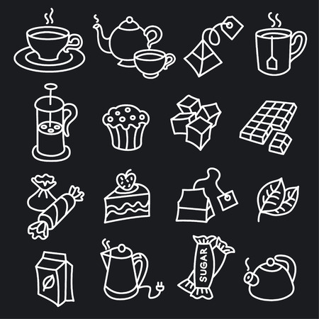 illustration of different dessert and tea icons Vettoriali