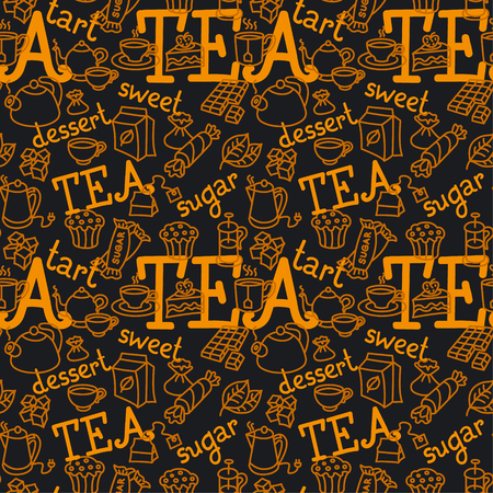 illustration of different dessert and tea seamless pattern