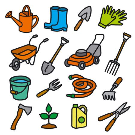 illustration of garden tools and equipment icon set Illustration