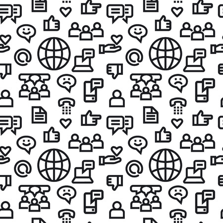 illustration of social media and network seamless pattern