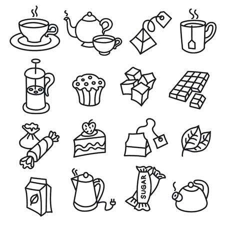 illustration of different dessert and tea icons 向量圖像