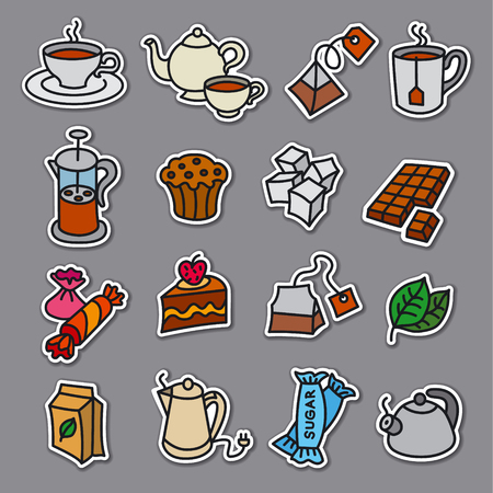 illustration of dessert and tea stickers and badges
