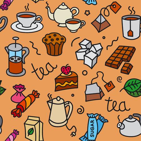 illustration of different dessert and tea seamless pattern