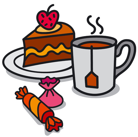 illustration of hot tea in the mug and cake with candy Иллюстрация