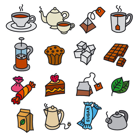 illustration of dessert and tea icons
