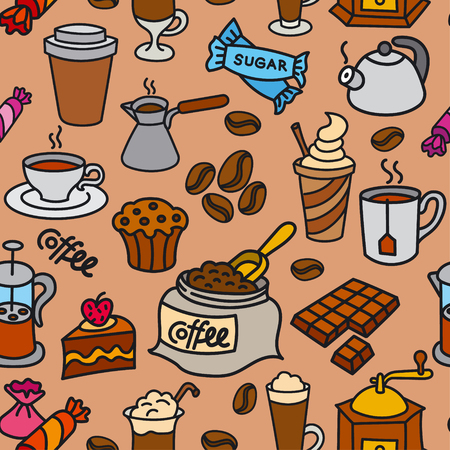Illustration of coffee seamless pattern  イラスト・ベクター素材
