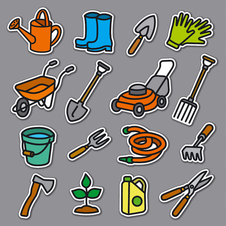 illustration of garden tools and equipment stickers set Illustration