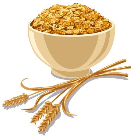 illustration d'un bol avec des cornflakes de céréales avec du blé