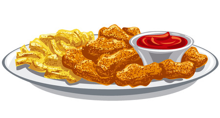 breaded chicken nuggets and french fries with sauce Illustration