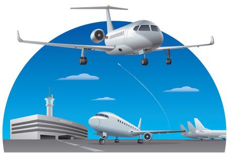 Ilustración del edificio del aeropuerto con aviones de pasajeros.