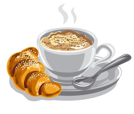Ilustración del café caliente con leche y croissant.