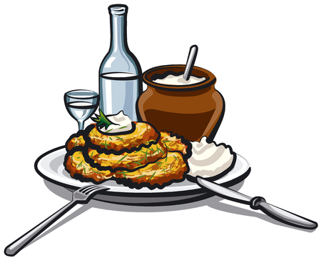 illustration of fried potato pancakes with sour cream and vodka