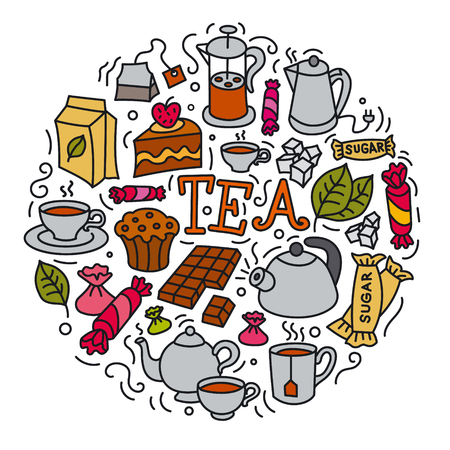 concept illustration of different desserts and tea icon