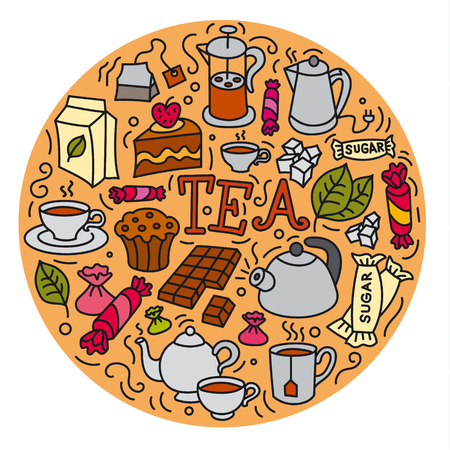 concept illustration of different desserts and tea icon Çizim