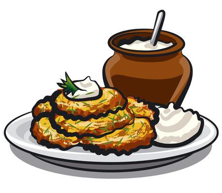 illustration of fried potato pancakes with sour cream