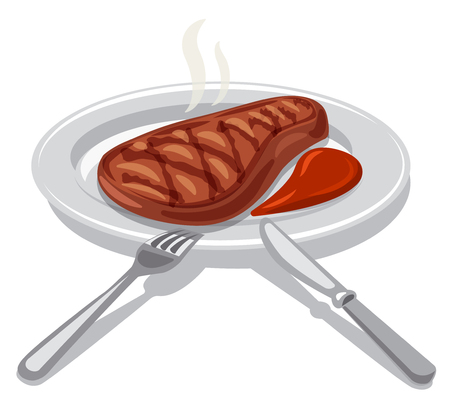 illustration of hot grilled beefsteak with tomato sauce