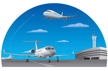 illustration of airport building with passenger airplanes