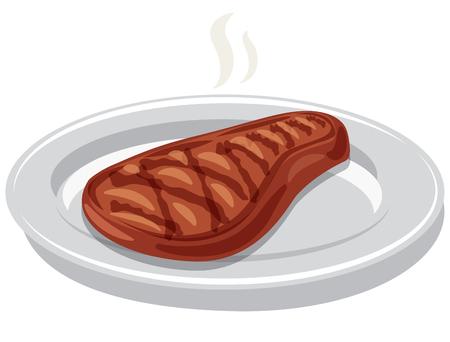 illustration of hot grilled beefsteak on a plate Stock fotó - 124192769