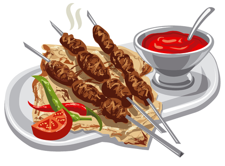 illustration of grilled kebab with pita bread