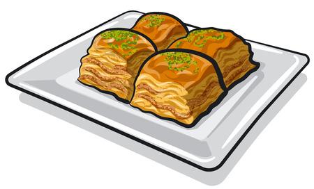 illustration of eastern sweet food baklava on the plate Illustration