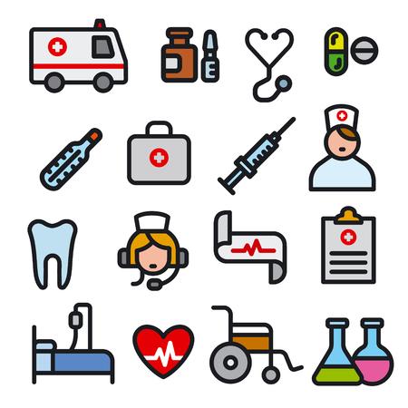 illustration set of black outlines filled color medicine icons