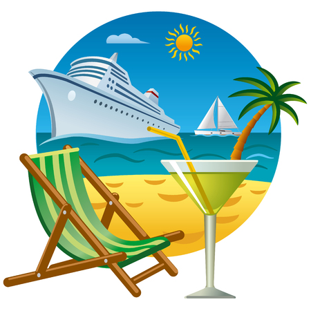 Tropical journey and resort with cocktail