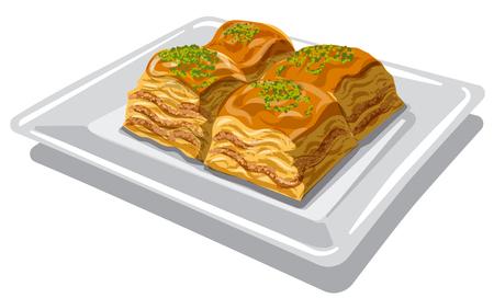 Illustration des östlichen süßen Essens Baklava auf dem Teller