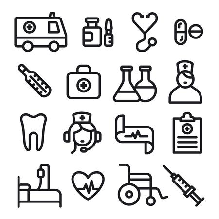 illustration set of black outlines medicine icons