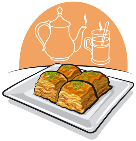 illustration of eastern food baklava on the plate