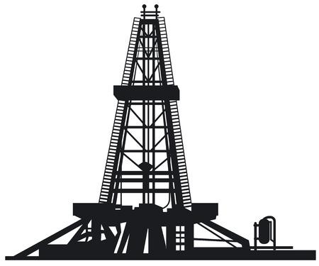 Abbildung der Ölindustrie Bohrturm Silhouetten Vektorgrafik