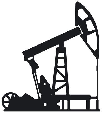 illustration of oil industry drilling derrick silhouette