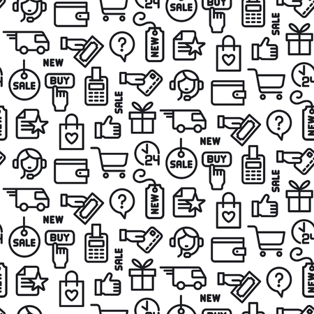 illustration of set e-commerce shop and business seamless pattern Vetores