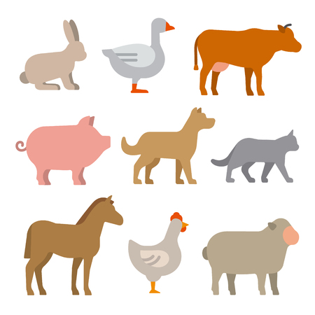 Insieme dell'icona di animali da fattoria
