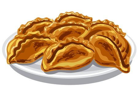 Pirogies pasties on the plate Illustration