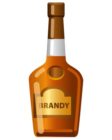 Brandy bottle on the white
