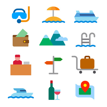 Set of color travel concept icons of resort, cruise and journey