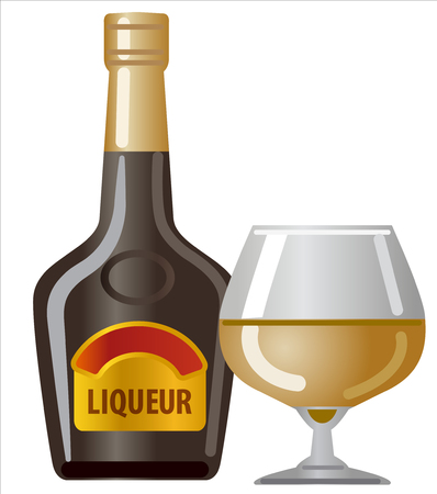 Creme milk liqueur bottle and glass
