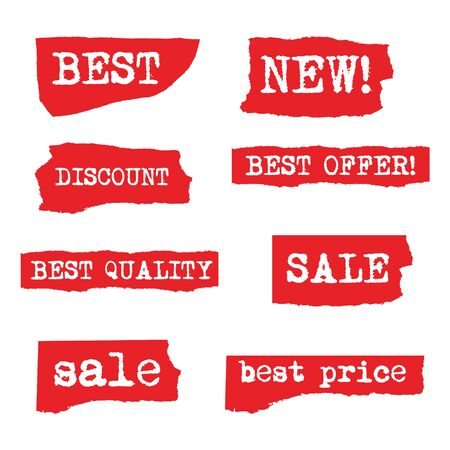 Set of different rough advertising promotion labels and stickers