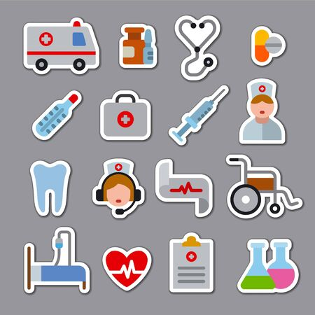 Set of flat color medicine stickers and icons