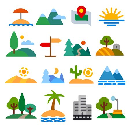 Illustration of landscapes and nature icons set
