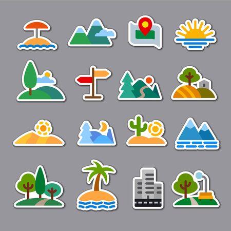 Landscape icons Иллюстрация