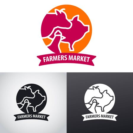 Concept illustration of a farm logo animals meat market