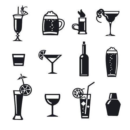 illustration of set alcohol drinks and cocktails for bar 向量圖像
