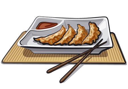 illustration of chinese dumplings with soy sauce 向量圖像