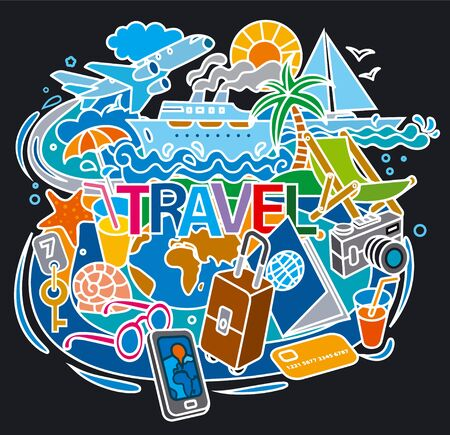 illustration of concept doodle for travel, journey and tourism around the world Иллюстрация