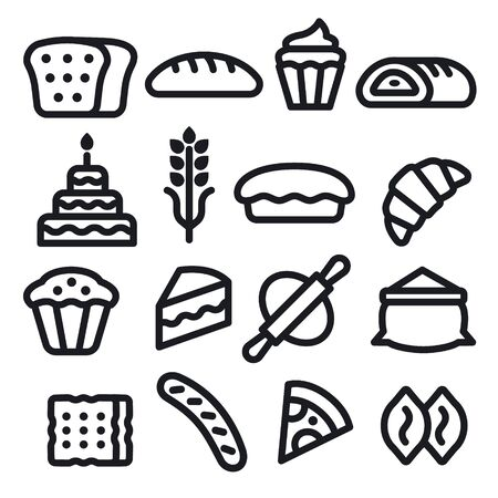 Bakery and bread black color icons Vectores