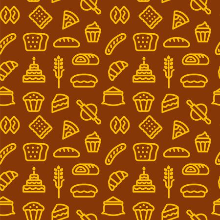 Bakery and bread seamless pattern